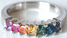 Princess Cut Rainbow Sapphire Ring (GR-5159) oh my Jeebus I'm in love!!