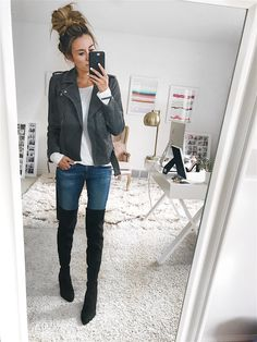 These 5 Sale Items Work with Any Outfit - Hello Fashion. White long sleeve tee+skinny jeans+black over the knee boots+grey moto jacket. Fall Casual Outfirt 2017
