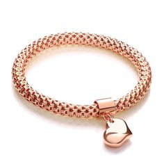 Rose Mesh with Heart Pendant - Fancy Bracelet - HEXYO London Jewellery Gifts For Women Mesh Bracelet, Bangle Bracelets With Charms, Link Bracelets, Bangles, Bridal Jewelry, Jewelry Gifts, Fine Jewelry, Gold Locket, Steel Jewelry