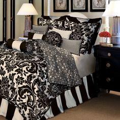 Black Bedroom Sets on Black Bedroom Design Ideas Black Damask Bedding And Comforter Sets Damask Bedroom, Damask Bedding, White Bedroom Design, White Bedding, Home Bedroom, Comforter Sets, Bedroom Decor, Bedroom Ideas, King Comforter
