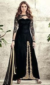 Black Color Embroidered Velvet Pant Style Suit  #pantstylesalwarkameez #designerindiandresses Transform into a stunning show-stopper with this black color embroidered velvet pant style suit. The gorgeous butta, lace, resham and stones work throughout dress is awe-inspiring.  USD $ 122 (Around £ 84 & Euro 93)