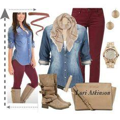 Burgundy pants and Jean shirt Fashion Mode, Look Fashion, Womens Fashion, Fashion Trends, Fall Fashion, 1950s Fashion, Vintage Fashion, Mode Outfits, Casual Outfits