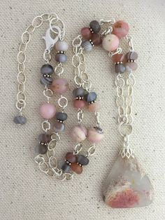 Pink Plume Agate Pendant Necklace on Beaded Strand of by Rock2Gems