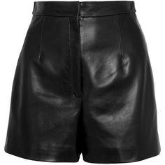 Balenciaga Leather shorts (€1.210) ❤ liked on Polyvore featuring shorts, bottoms, short, pants, balenciaga, a-line shorts, leather short shorts, zipper shorts, short shorts and leather shorts