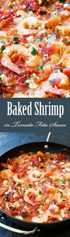 Quick, easy, ONE pot! Shrimp baked in tomato sauce with onions, garlic, and feta cheese. Takes 30 min to make. So GOOD! On SimplyRecipes.com