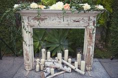 Smog Shoppe mantle and wooden tree ceremony decor with the Montrose Mantle from Found Vintage Rentals