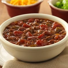 Chunky chili made quickly with ground meat, beans and two kinds of tomatoes for lots of flavor  ---  perfect for a weeknight meal