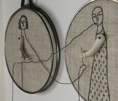 "Amazing inspired talent!  hand embroidery hoop art- ""we complete each other"", by MarysGranddaughter"