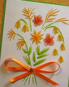 Orange flower bouquet embroidered picture 5 x 7 by SandrasCardShop, $15.00