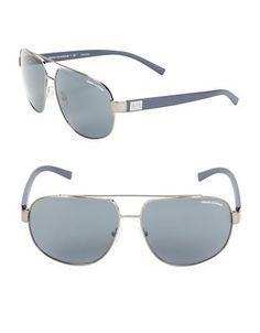 Armani Exchange AX2019S 60mm Aviator Sunglasses Men's Dark Grey