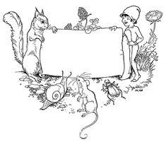 Vintage Clip Art - Children's Bookplate - Squirrel - Elf - The Graphics Fairy ~ free domain, labels