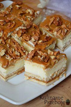 Ciasto krówka bez pieczenia, na herbatnikach z orzechami włoskimi