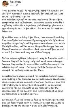 Bk Shivani Quotes, Brahma Kumaris, Om Shanti Om, Sister Quotes, Selfish, Spiritual Quotes, Engineering, Sisters, Spirituality
