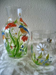 Hand painted bedside carafe with wildflowers and by TivoliGardens, $36.00