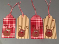 Stampin Up! Owl Builder Punch reindeer gift tags by For the love of paper