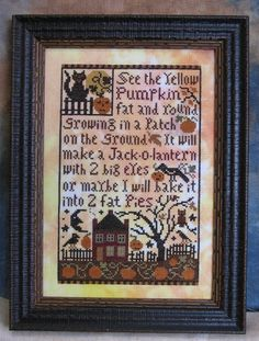 Pumpkin Patch | Flickr - Cute cross stitch and a fun poem to have kids copy this fall.