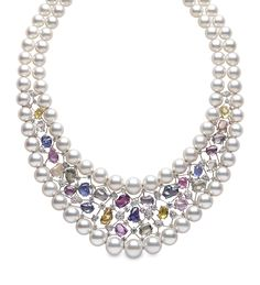Yoko London white gold Aurora necklace from the Masterpiece collection featuring Australian South Sea pearls, multi-coloured sapphires and diamonds Gems Jewelry, Pearl Jewelry, Diamond Jewelry, Gemstone Jewelry, Jewelry Accessories, Jewelry Necklaces, Fine Jewelry, Jewelry Design, Bracelets