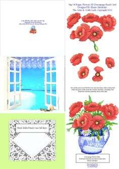 Jug Of Poppy Flowers 3D Decoupage Pop Up Easel Card designed by Elaine Sheldrake at  DigitalHeaven, £0.80