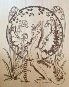 Fairy and dragon Wood Crafts, Fairy, Dragon, Silhouette, Patterns, Block Prints, Patrones, Pattern, Dragons