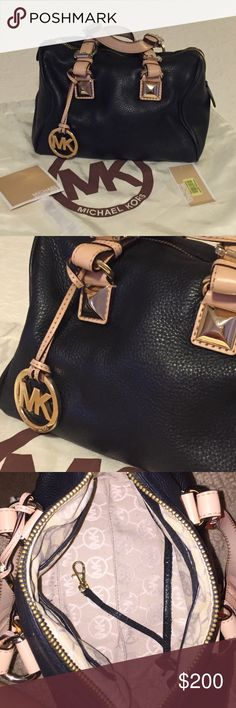Michael Kors Grayson Satchel Top zip closure purse with dual buckled top leather handles with a drop of approx. 3.5 inches Removable gold-toned logo hang charm and hardware Long strap for crossbody Lined interior features 4 slip pockets and 1 zip pocket Protective gold-toned feet on bottom Approx. dimensions: 11.5 in L x 8 in H x 6.5 in W Michael Kors Bags Satchels