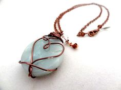 Blue Amazonite Crystal Bead Pendant Copper Wire by LuvAlisa, $35.00