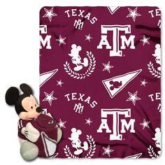 "Texas A&M College - Disney 40X50 Fleece Throw W/ 14"" Plush Mickey Hugger"