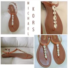 Michael Kors jeweled sandals ret $125 price firm Michael Kors Leather jeweled sandals lightly padded leather insole , rubber outsole, adjustable leather Buckle strap. and Hardware Detail retail$125 reduced and priced to sell  Sizes size 10 M  Now FREE Shipping  on all orders over$50 I will reduce by $5 to cover ur shipping n free gift with purch from me  to u ! reduced PRICE FIRM ❤️ MICHAEL Michael Kors Shoes Sandals