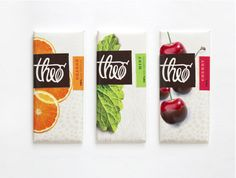 Theo Chocolate Packaging Design on Behance, design for different flavours of chocolate, Like how the imagery of the fruits and leaves is displayed to create an organic feel.