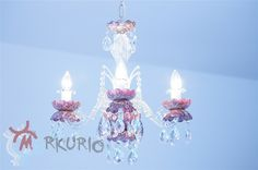 Bohemia crystal chandelier with abstract decorations. Hand hut, 24%Pb - decorated by Petr Jáchym