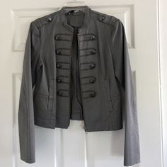 H&M Gray Military Style Jacket Cropped military-inspired jacket from H&M.  Metal button detailing, zip front and side pockets.  Tailored seaming makes a very flattering fit! H&M Jackets & Coats Utility Jackets