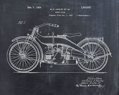 Patent Print of a Harley Motorcycle Patent Art Print Patent