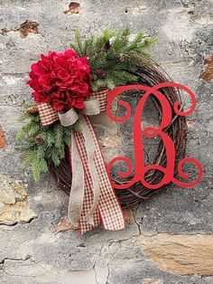 Christmas wreath, Christmas wreaths for front door, Elegant Monogram Christmas wreath, Holiday door decor, Rustic Christms wreath Christmas Wreaths For Front Door, Christmas Tree, Red Hydrangea, Trendy Tree, Grapevine Wreath, Grape Vines, Dyi, Monogram, Valentines