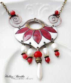 Enamel necklace -  White-burgundy - copper - gemstones - swirl - cloisonne