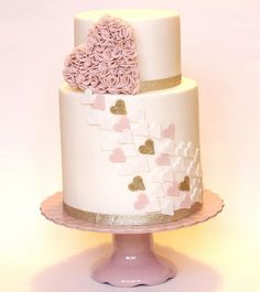 Pink, White & Gold Heart with Pink Ruffle Heart Cake #RePin by AT Social Media Marketing - Pinterest Marketing Specialists ATSocialMedia.co.uk