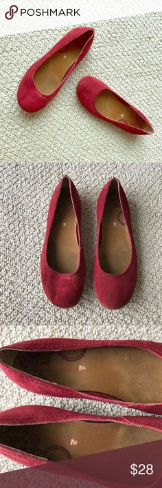 Merrell Port Red Suede Slip On Flats So cute and comfy! Merrell port red suede flats have a padded insole. Light wear throughout. No trades please! Merrell Shoes Flats & Loafers