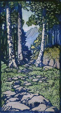 April - FRANCES GEARHART, block print, c. 1925-28