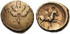 Britain. Regini & Atrebates. Verica, c. AD 10-40. Stater (Gold, 18mm, 5.50 g 4), vine leaf type, southern mint, either in or near Chichester or Silchester. VI - RI Vine leaf. Rev. C - O - F Warrior, with spear and shield strapped over his back, riding horse galloping to right (apparently leaping one 'platform' to another). ABC 1193. Allen & Haselgrove series D, 48-51 (dies A/a). Bean VER3-1. SCBC 121. VA 520-1. A lovely example with excellent reverse details. Extremely fine.