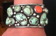 Pixie Green turquoise cuff bracelet and Mediterranean coral made by Colorado Jewelrydude in the 1970's.
