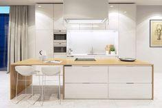 cocina blanca brillante con encimeras de madera #cocinasmodernasconisla