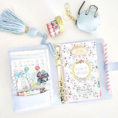 I'm done setting up this beauty yet but I just wanted to show how @theplannersociety December's kit fits perfectly in this ice blue Kikki-k  by monpetitplanner