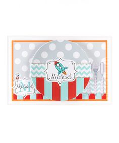 Take a look at this Aqua & Red Rocket Personalized Dining Set by Farmhousefive Art for Kids on #zulily today!