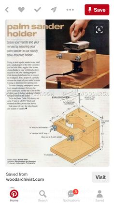 Turn your palm sander into a table top sanding disc for detail sanding. Palm Sander Holder - Sanding Tips, Jigs and Techniques Learn Woodworking, Easy Woodworking Projects, Woodworking Plans, Wood Projects, Woodworking Jigsaw, Wood Tools, Diy Tools, Sanding Tips, Sanding Wood