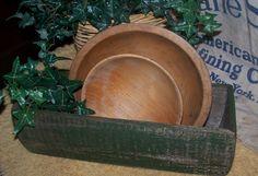 Vintage Gathering Painted Maine Made Cedar Box 2 Vintage Wood Bowls   eBay