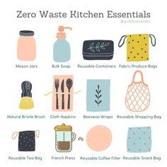 Zero Waste Kitchen Essentials – Goldilocks Wraps waste kitchen essentials waste living tips Mason Jars Bulk, No Waste, Produce Bags, Eco Friendly House, Eco Friendly Products, Diy Blog, Kitchen Essentials, Sustainable Living, Sustainable Food