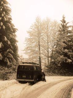 roaming the snow. VW Bus