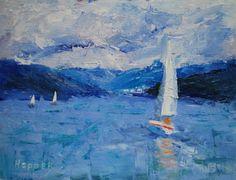 """Sailing on the Hardanger Fjord, Norway"", 6x8, framed, oil on museum quality board. www.carolhopper.com"