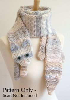 Crochet Pattern for Calico Cat Scarf