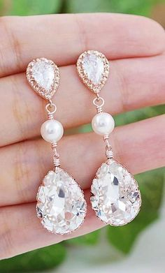 awesome Wedding Jewelry Bridal Earrings Bridesmaid gift Bridesmaid Earrings CZ ear posts... by post_link