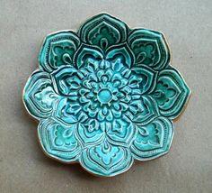 Full Malachite GREEN Ceramic Lotus Ring Dish 3 1/4 inches round