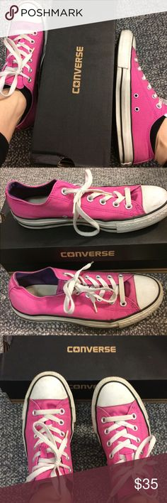Pink converse Pink converse low tops, worn twice. The all star in the back is a little worn off and there is a tear  in the tag looking from the bottom. Overall very comfortable and nice shoes. 2 tongue flaps, 1 pink one white. Comes with the box. Converse Shoes Sneakers